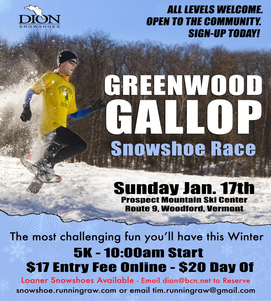 Greenwood Gallop 5k Snowshoe Race 2016